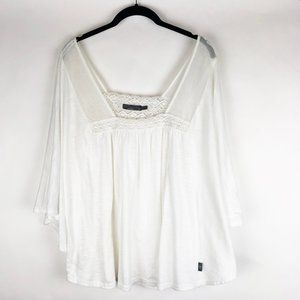 Prana White Lace Trim Batwing Top M